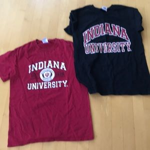 2 T-shirts small IU Hoosiers logo white & grey